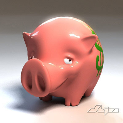 piggy bank 3d model - Piggy Bank 1... by shiva3d