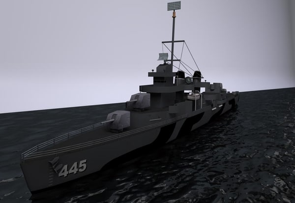3d model of uss dd445 flecher - dd-445-fletcher obj.rar... by DHHH