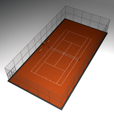 tennis court 3d model - Tennis court clay... by Leeift