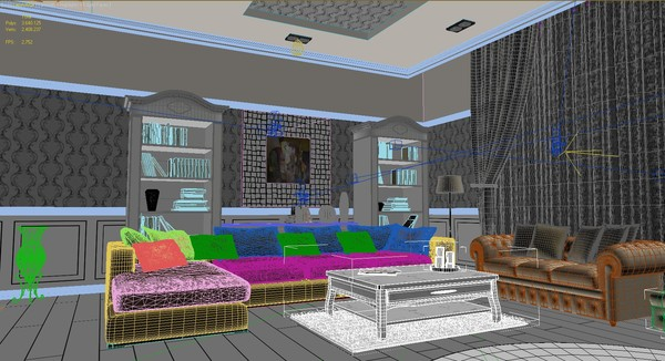 saloon fireplace sofas 3ds - Salon with Fireplace... by solarseas
