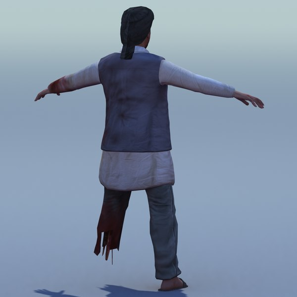 3d afghan rigged model - Afghan Male Injured Rigged... by ES3DStudios