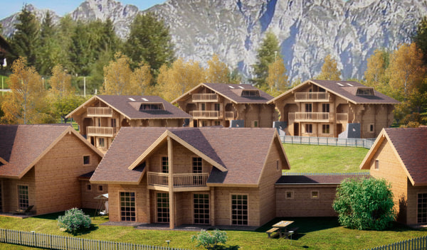 c4d log wooden house - Log House - Chamonix... by GIOLETS