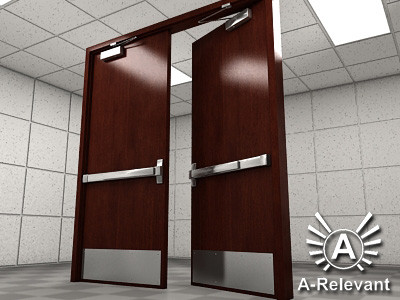 Double Door 1 Wood - RIGGED - detailed double door model - 3ds max2010