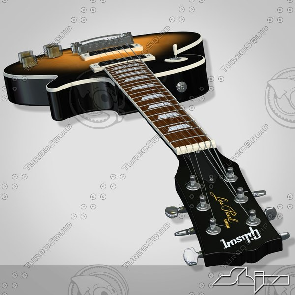 guitar gibson les paul 3d model - Guitar Gibson Les Paul (2)... by shiva3d