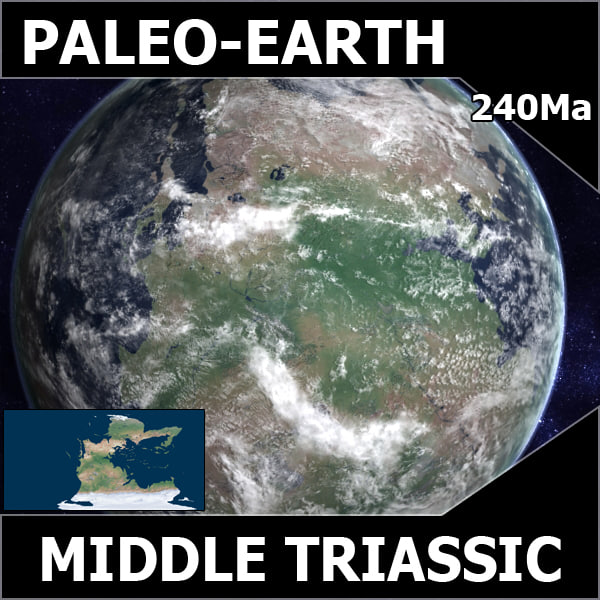 3d model triassic earth middle