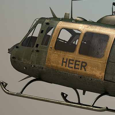 uh-1h air force 3d model - uh-1h heer... by OODINDD