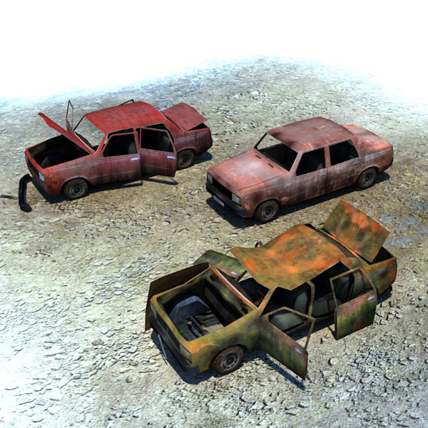 3d ready wrecked car ruins model