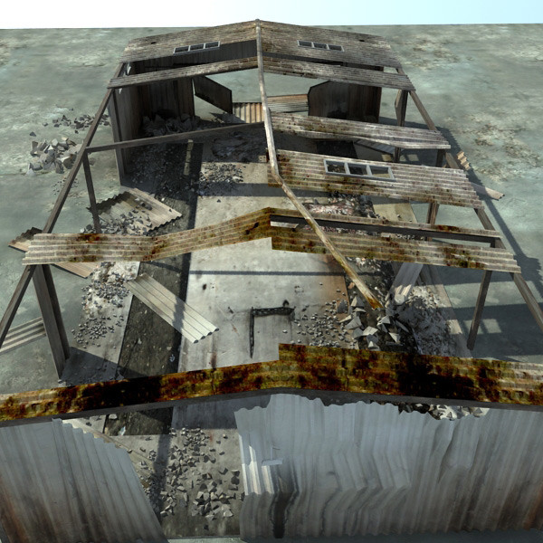 3d model derelict warehouse ruined buildings - Ruined Warehouse Ruins... by 3D_Multimedia