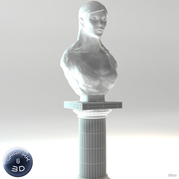 3d model marble sculpture - Female Marble Bust... by PolyTron