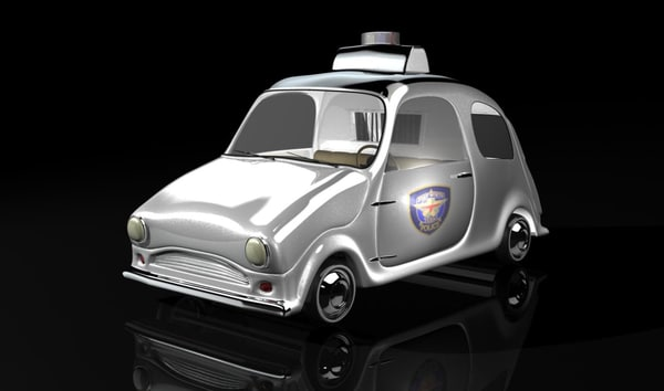 concept cartoon police car 3d obj