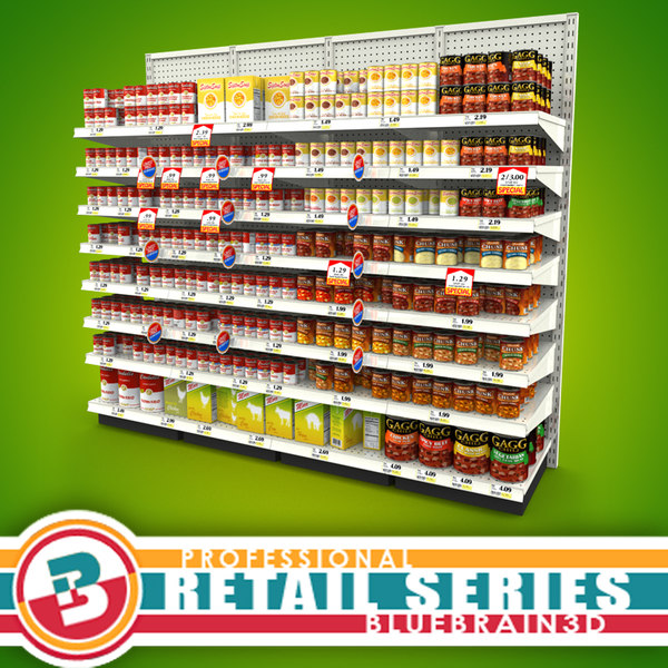 3d grocery shelves soup -