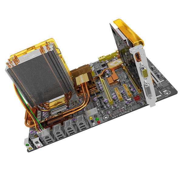 3d motherboard ga-ep45-dq6 gv-n220oc - GA-EP45-DQ6 Motherboard with GV-N220OC Video Card... by 3DLocker