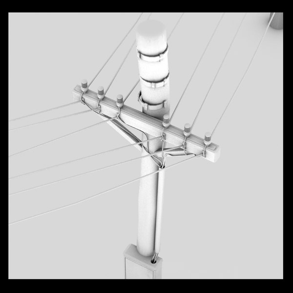 3d power line model - Power Line Textured Wiring Wire Street Town Detail Low Pro... by Litarvan