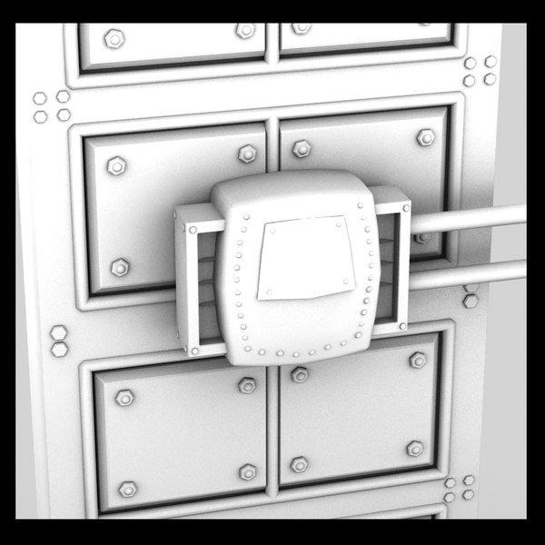3d metal door moving - metal side moving door textured... by Litarvan