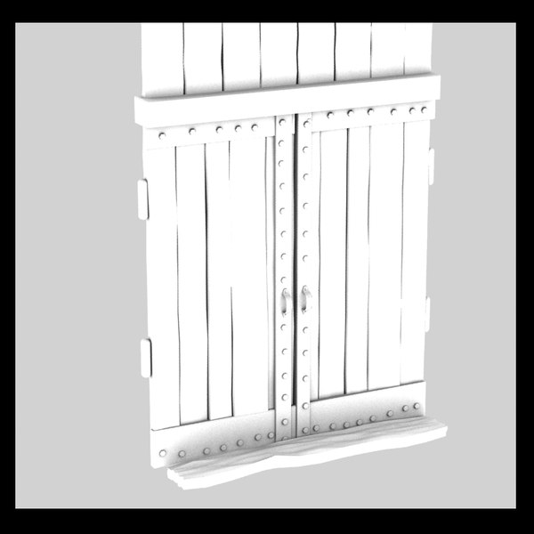 3d model wooden door old