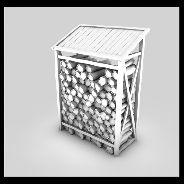 wood shed log fbx - wood log shed textured... by Litarvan