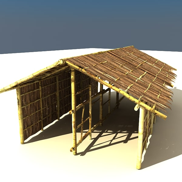 3ds max bamboo house - bamboo house textured... by Litarvan