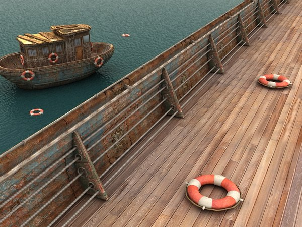 ship metal handrail textured
