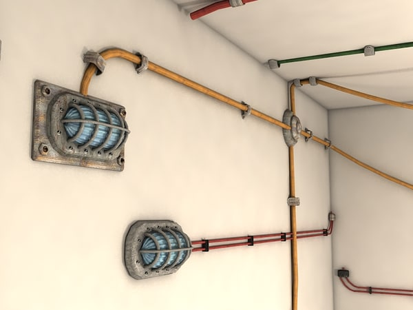 cables wall 3d model - cables on wall collection textured... by Litarvan