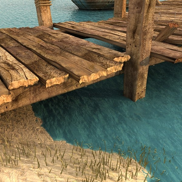 wooden pier 3ds - Wooden Pier Textured... by Litarvan