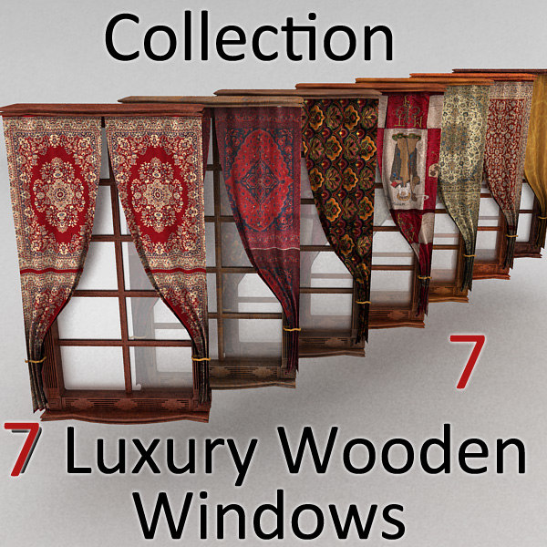 window wood curtain 3d model - window textured... by Litarvan