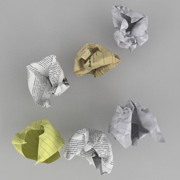 3d model of crumpled balls paper - Crumpled Paper Balls... by Boarini Pictures