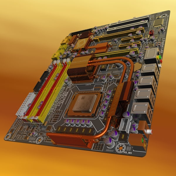3d model of motherboard ga-ep45-dq6 - GA-EP45-DQ6 MotherBoard... by 3DLocker