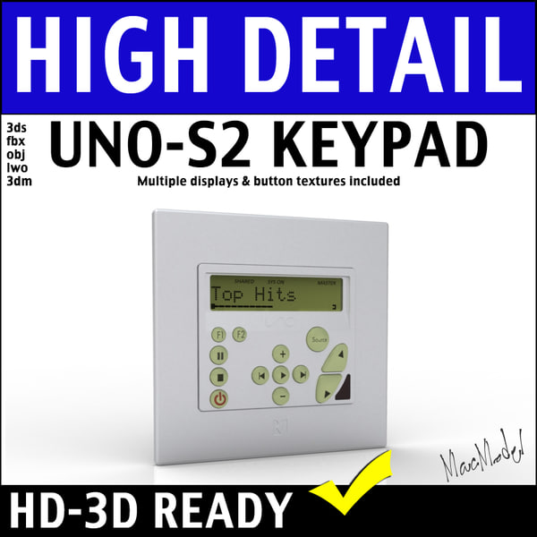 russound uno s2 keypad 3d 3ds