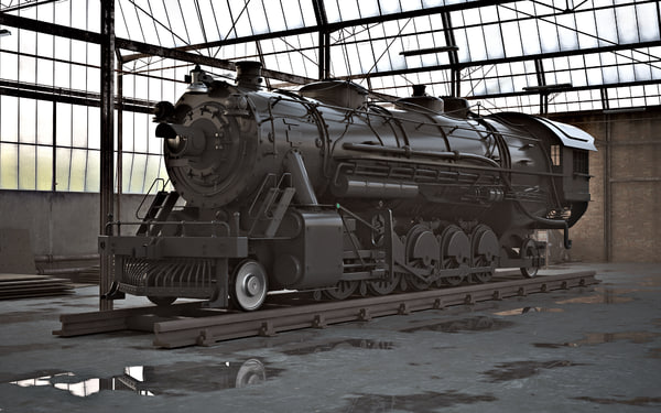 3d model steam locomotive - Steam locomotive... by OOPHAGA
