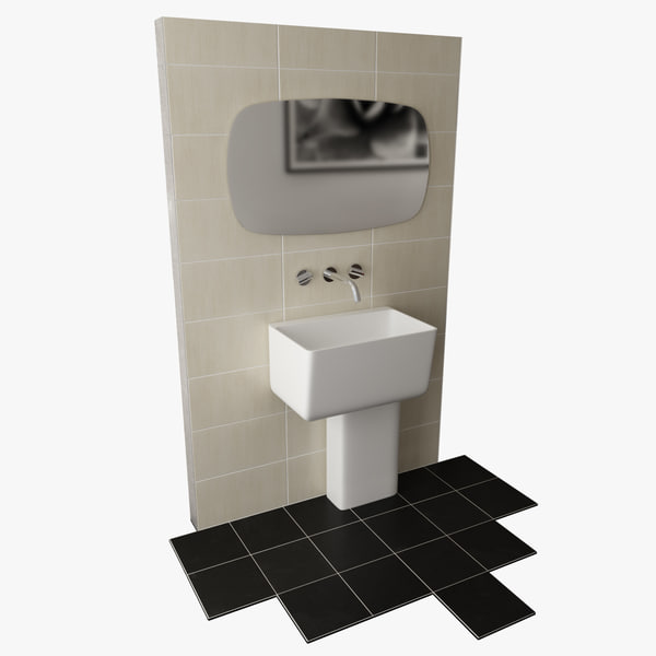 free contemporary bathroom set 3d model