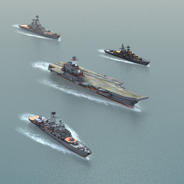ships russian navy kuznetsov 3d obj - Russian Navy Set01... by ES3DStudios
