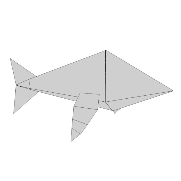 paper whale 3d model - origami animal8... by bescec