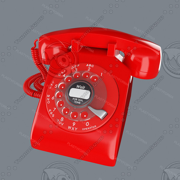 3d model red phone retro - Retro_Phone_Red... by PlastyForma