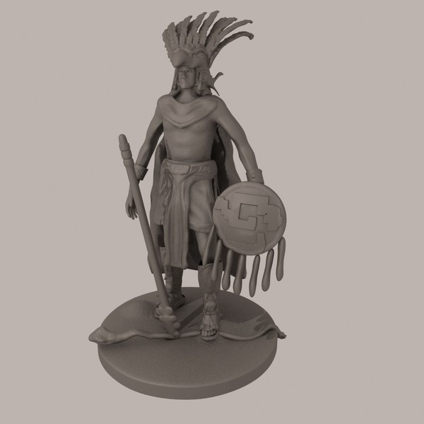 azteca warrior statue 3d max - Aztec Warrior... by Interu2x