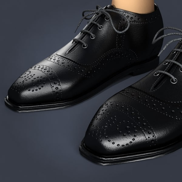 3ds max black leather shoes - Black leather Shoes... by shank3d