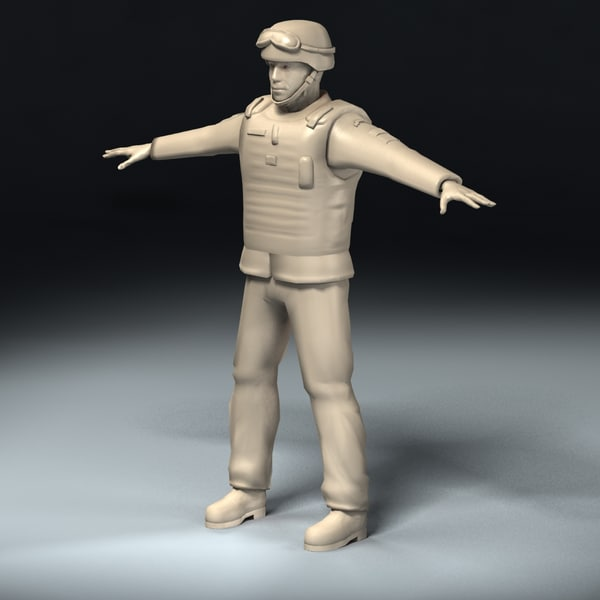 3d army soldier model - Army Soldier Rigged... by ES3DStudios