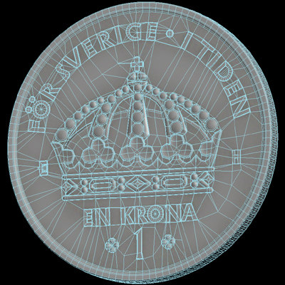 swedish crown coin 3d max - Swedish crown coin... by aristarch