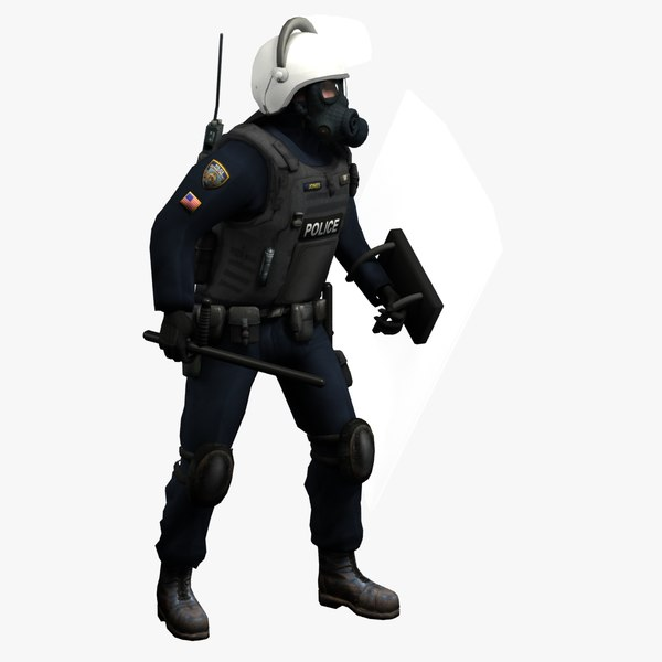 riot police officer rigged 3d model