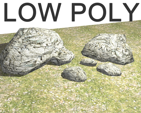 stone rock chalk low poly gameboulder river stream pebble terrain ground