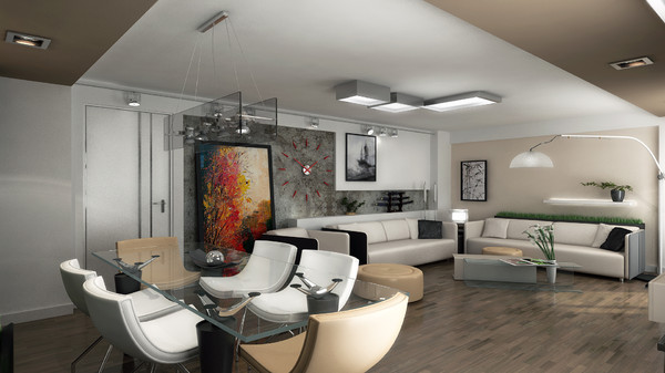 scene modern living 3d max - Contemporary Salon... by solarseas