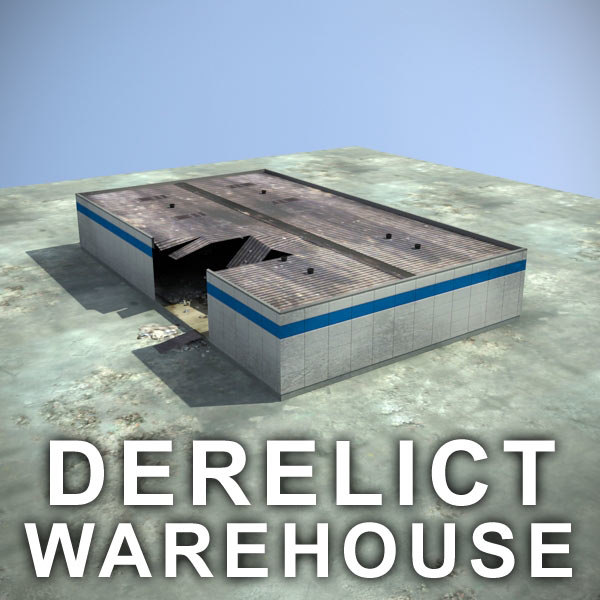 3d ruined warehouse interior
