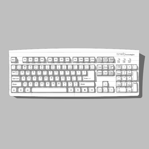 3d computer keyboard model - Computer Keyboard: C4D Format... by phantomliving