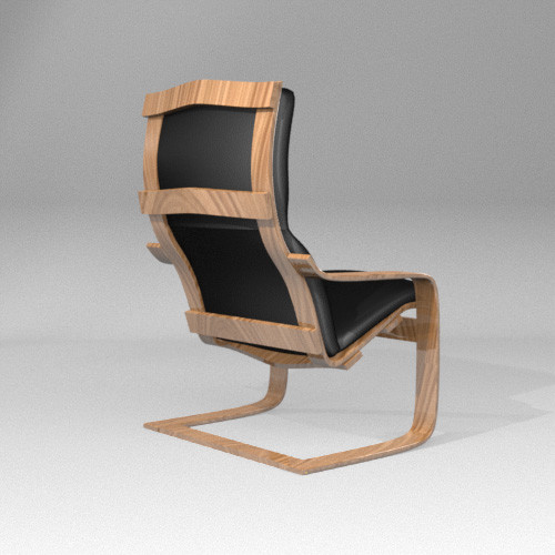 Ikea Glass Cabinet Shattered ~ 3d model leather chair Poang Chair by MyNameIsJames