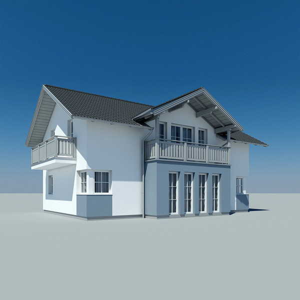 photoreal villa house 1 3d model