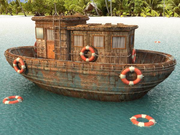 old ship 3d fbx