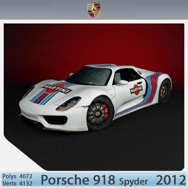 3d porsche 918 spyder 2012 model