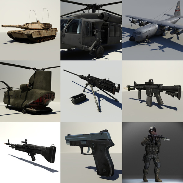 military pack 3d obj - military mega pack... by studio Lab