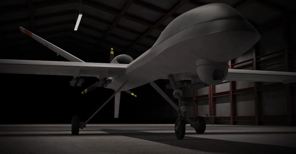reaper drone 3d model - Reaper Drone UAV in Hangar... by divertom