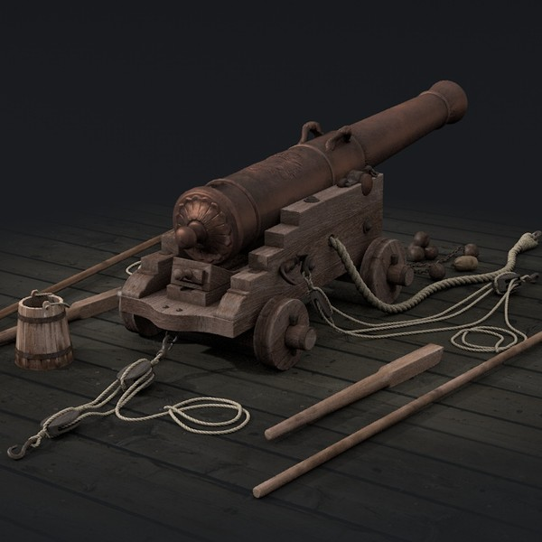 3d model cannon naval french - French naval cannon... by psolodov