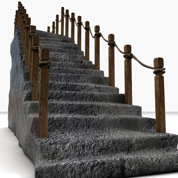 3d model stairs - Rock Stone Oriental Old Vintage Stairs prop detail japenes... by Litarvan